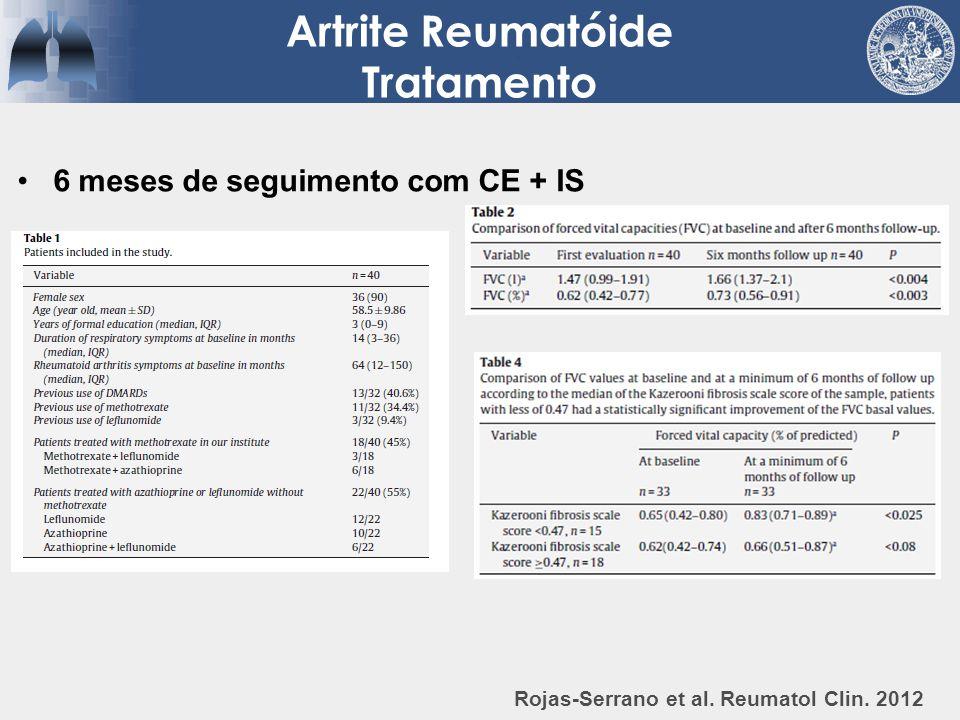Artrite Reumatóide Tratamento Rojas-Serrano et al. Reumatol Clin. 2012 6 meses de seguimento com CE + IS