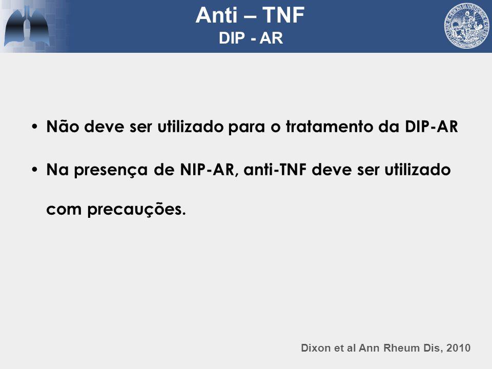 Dixon et al Ann Rheum Dis, 2010 Anti – TNF DIP - AR Não deve ser utilizado para o tratamento da DIP-AR Na presença de NIP-AR, anti-TNF deve ser utiliz