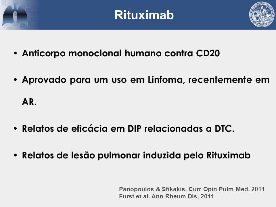 Anticorpo monoclonal humano contra CD20 Aprovado para um uso em Linfoma, recentemente em AR. Relatos de eficácia em DIP relacionadas a DTC. Relatos de