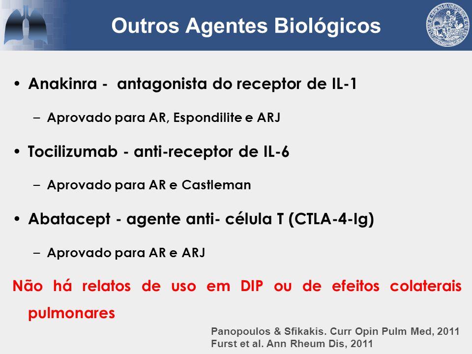 Anakinra - antagonista do receptor de IL-1 – Aprovado para AR, Espondilite e ARJ Tocilizumab - anti-receptor de IL-6 – Aprovado para AR e Castleman Ab