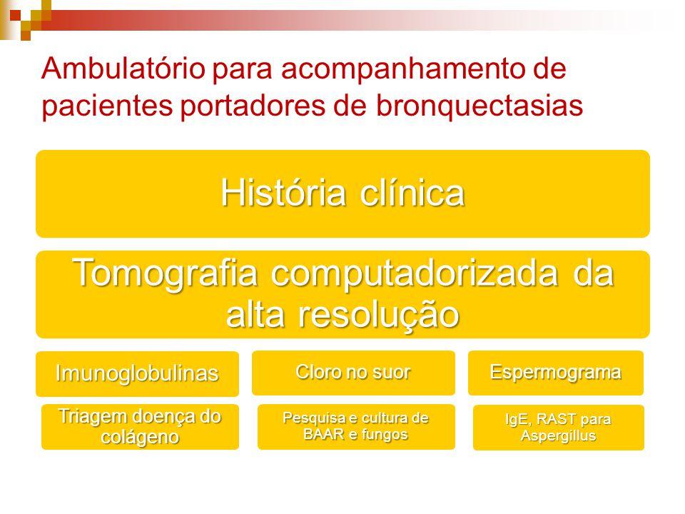 Ambulatório para acompanhamento de pacientes portadores de bronquectasias História clínica Tomografia computadorizada da alta resolução Imunoglobulinas Cloro no suor Espermograma IgE, RAST para Aspergillus Pesquisa e cultura de BAAR e fungos Triagem doença do colágeno