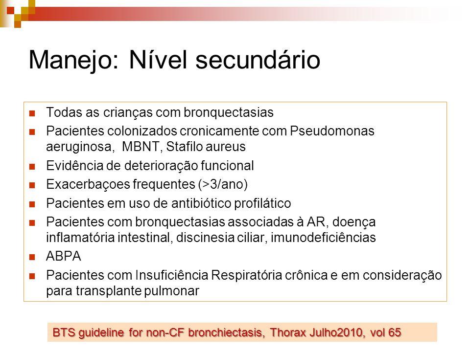 Manejo: Nível secundário Todas as crianças com bronquectasias Pacientes colonizados cronicamente com Pseudomonas aeruginosa, MBNT, Stafilo aureus Evidência de deterioração funcional Exacerbaçoes frequentes (>3/ano) Pacientes em uso de antibiótico profilático Pacientes com bronquectasias associadas à AR, doença inflamatória intestinal, discinesia ciliar, imunodeficiências ABPA Pacientes com Insuficiência Respiratória crônica e em consideração para transplante pulmonar BTS guideline for non-CF bronchiectasis, Thorax Julho2010, vol 65