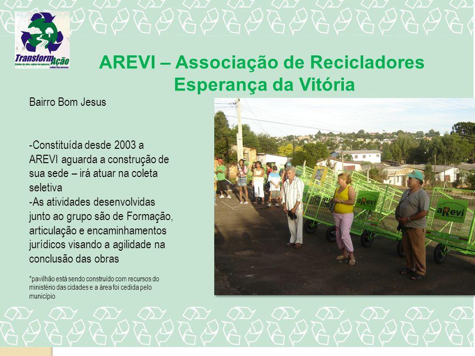 AREVI – Associação de Recicladores Esperança da Vitória Bairro Bom Jesus -Constituída desde 2003 a AREVI aguarda a construção de sua sede – irá atuar