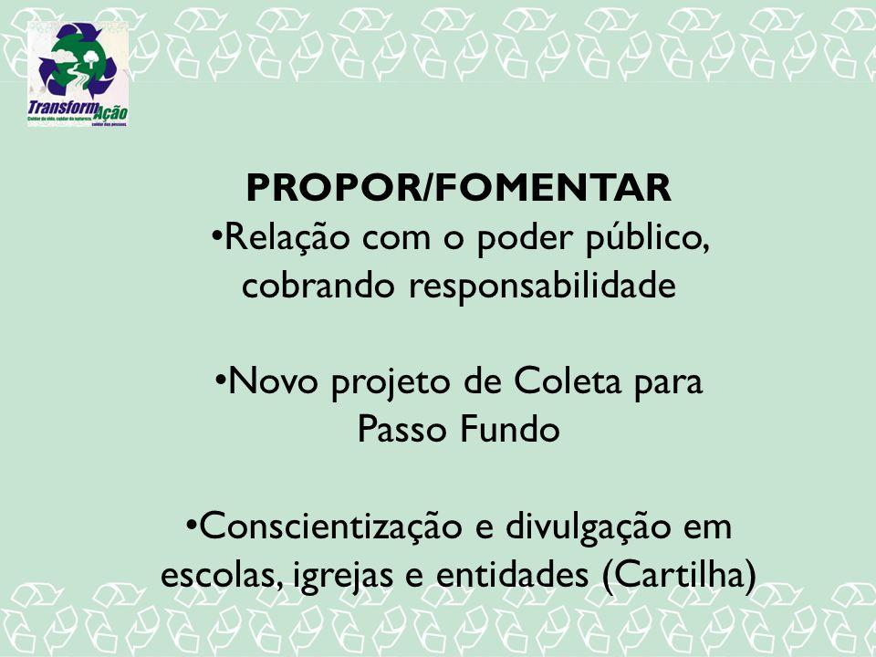 PROPOR/FOMENTAR Relação com o poder público, cobrando responsabilidade Novo projeto de Coleta para Passo Fundo Conscientização e divulgação em escolas