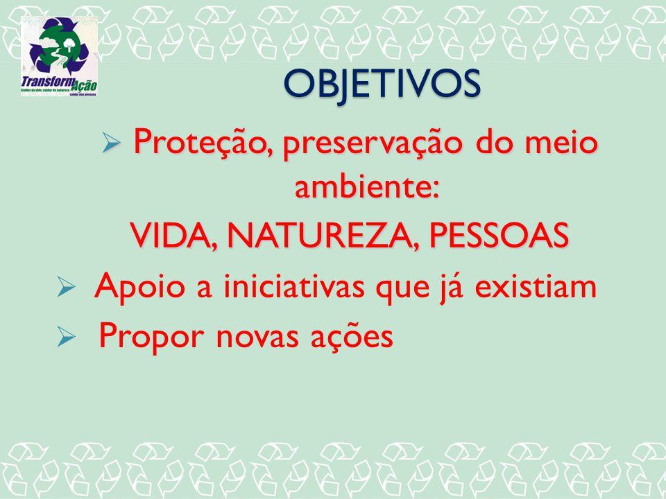 OBJETIVOS Proteção, preservação do meio ambiente: Proteção, preservação do meio ambiente: VIDA, NATUREZA, PESSOAS Apoio a iniciativas que já existiam