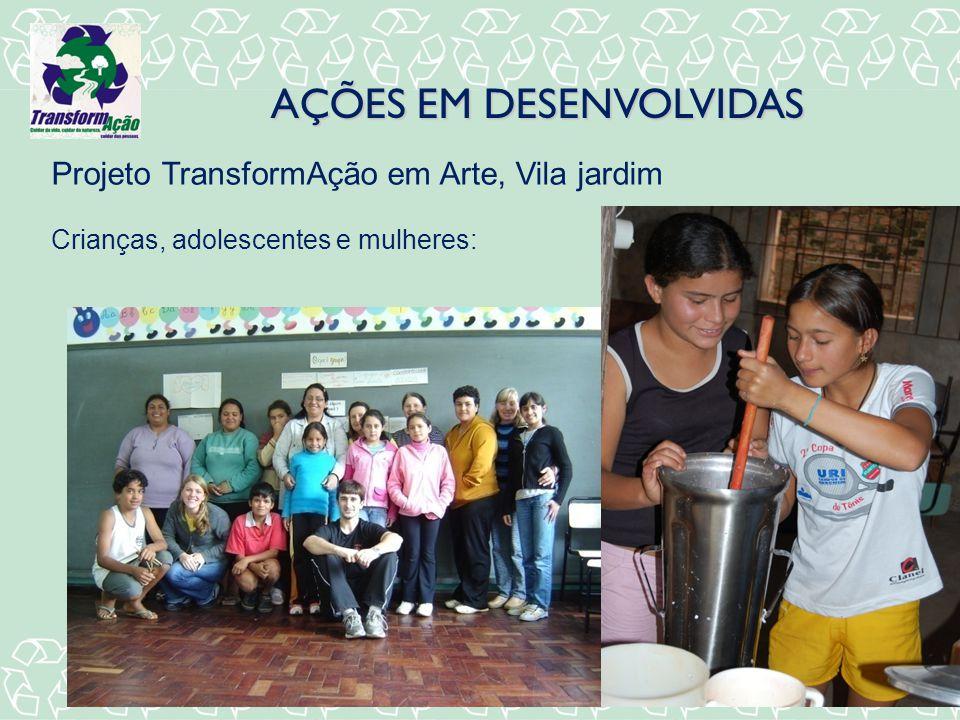 AÇÕES EM DESENVOLVIDAS Projeto TransformAção em Arte, Vila jardim Crianças, adolescentes e mulheres: