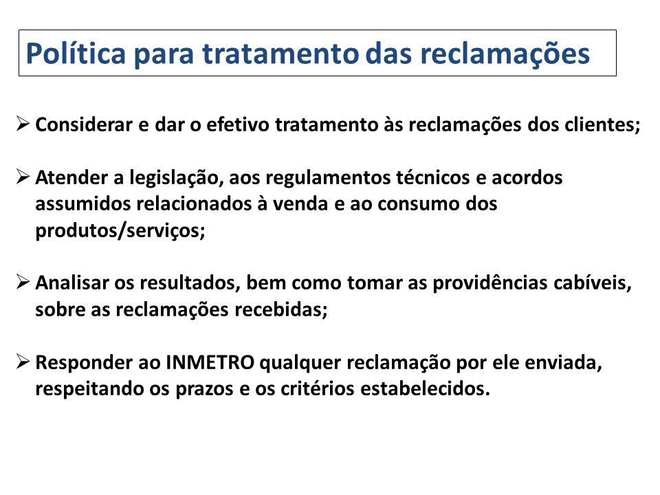 Política para tratamento das reclamações Considerar e dar o efetivo tratamento às reclamações dos clientes; Atender a legislação, aos regulamentos téc