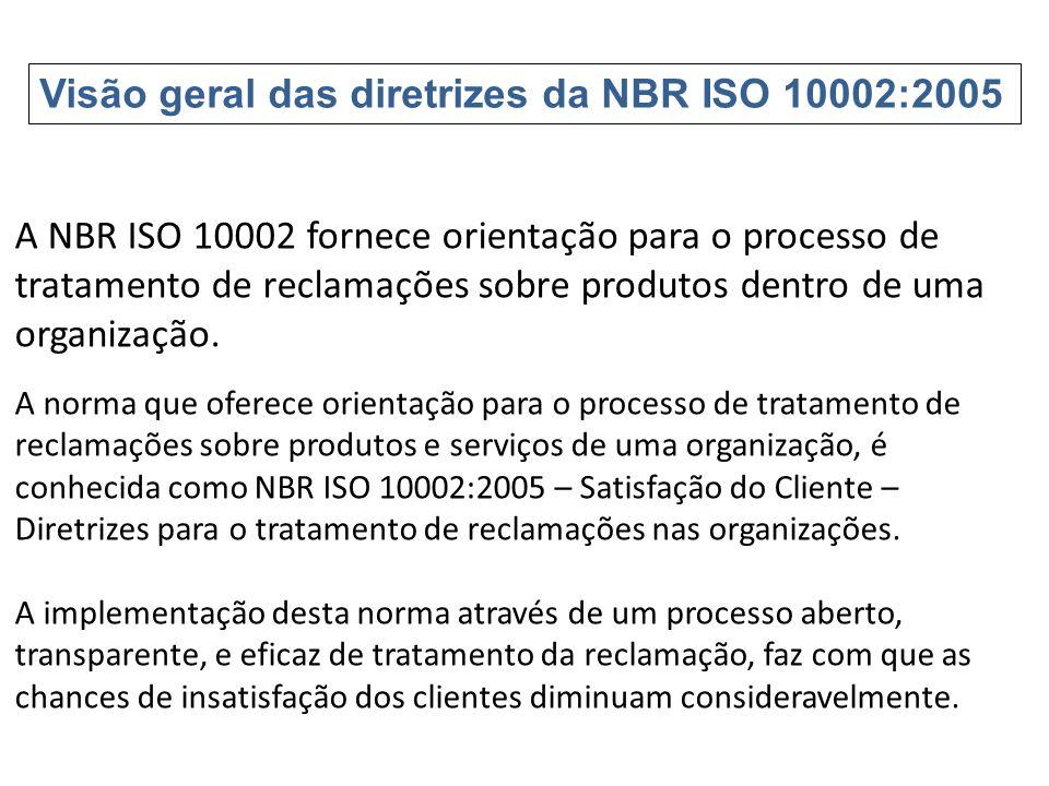 A NBR ISO 10002 fornece orientação para o processo de tratamento de reclamações sobre produtos dentro de uma organização. A norma que oferece orientaç