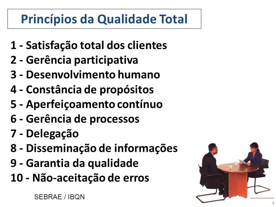 1 - Satisfação total dos clientes 2 - Gerência participativa 3 - Desenvolvimento humano 4 - Constância de propósitos 5 - Aperfeiçoamento contínuo 6 - Gerência de processos 7 - Delegação 8 - Disseminação de informações 9 - Garantia da qualidade 10 - Não-aceitação de erros Princípios da Qualidade Total SEBRAE / IBQN