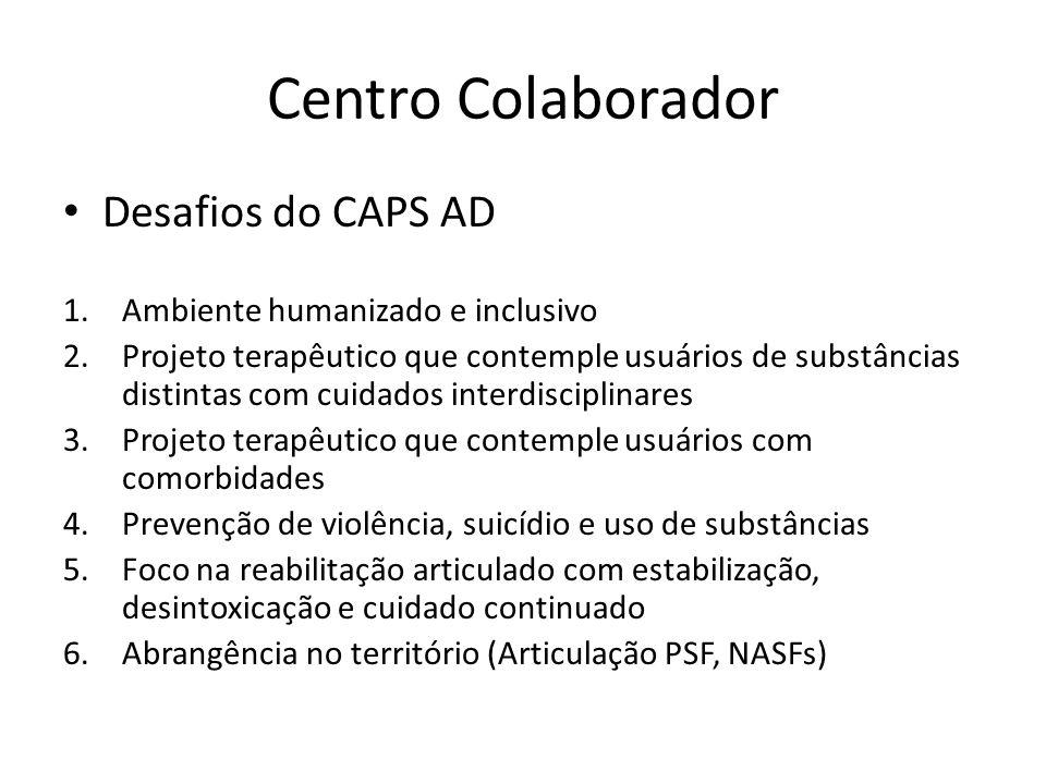 Centro Colaborador Desafios do CAPS AD 1.Ambiente humanizado e inclusivo 2.Projeto terapêutico que contemple usuários de substâncias distintas com cui