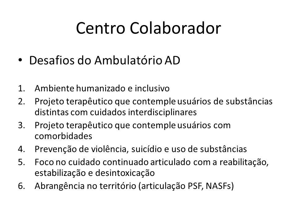 Centro Colaborador Desafios do Ambulatório AD 1.Ambiente humanizado e inclusivo 2.Projeto terapêutico que contemple usuários de substâncias distintas