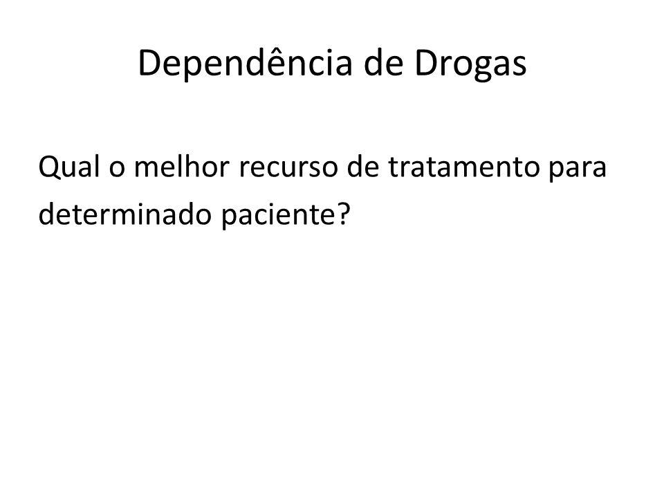 Dependência de Drogas Qual o melhor recurso de tratamento para determinado paciente?