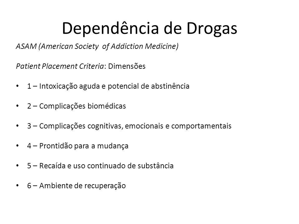 Dependência de Drogas ASAM (American Society of Addiction Medicine) Patient Placement Criteria: Dimensões 1 – Intoxicação aguda e potencial de abstinê