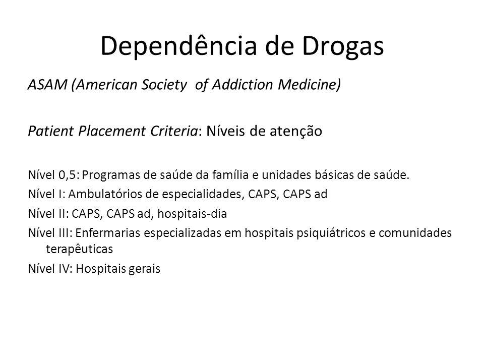 Dependência de Drogas ASAM (American Society of Addiction Medicine) Patient Placement Criteria: Níveis de atenção Nível 0,5: Programas de saúde da família e unidades básicas de saúde.