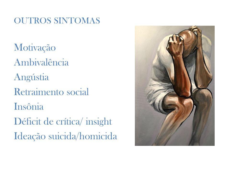 OUTROS SINTOMAS Motivação Ambivalência Angústia Retraimento social Insônia Déficit de crítica/ insight Ideação suicida/homicida