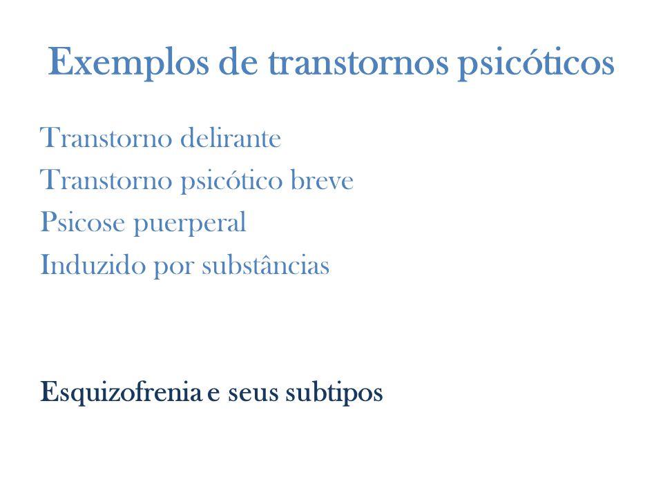 Exemplos de transtornos psicóticos Transtorno delirante Transtorno psicótico breve Psicose puerperal Induzido por substâncias Esquizofrenia e seus subtipos