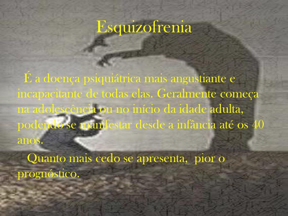 Esquizofrenia É a doença psiquiátrica mais angustiante e incapacitante de todas elas.