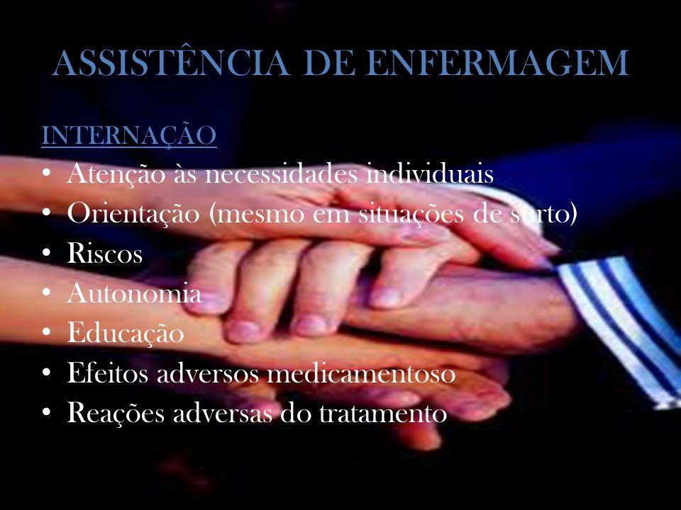 ASSISTÊNCIA DE ENFERMAGEM INTERNAÇÃO Atenção às necessidades individuais Orientação (mesmo em situações de surto) Riscos Autonomia Educação Efeitos adversos medicamentoso Reações adversas do tratamento
