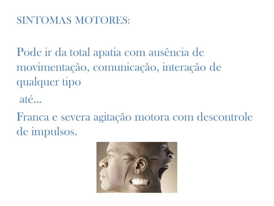 SINTOMAS MOTORES: Pode ir da total apatia com ausência de movimentação, comunicação, interação de qualquer tipo até...