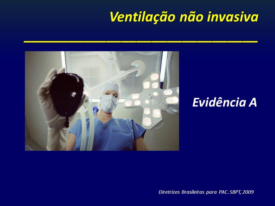 Ventilação não invasiva _______________________________ Evidência A Diretrizes Brasileiras para PAC. SBPT, 2009