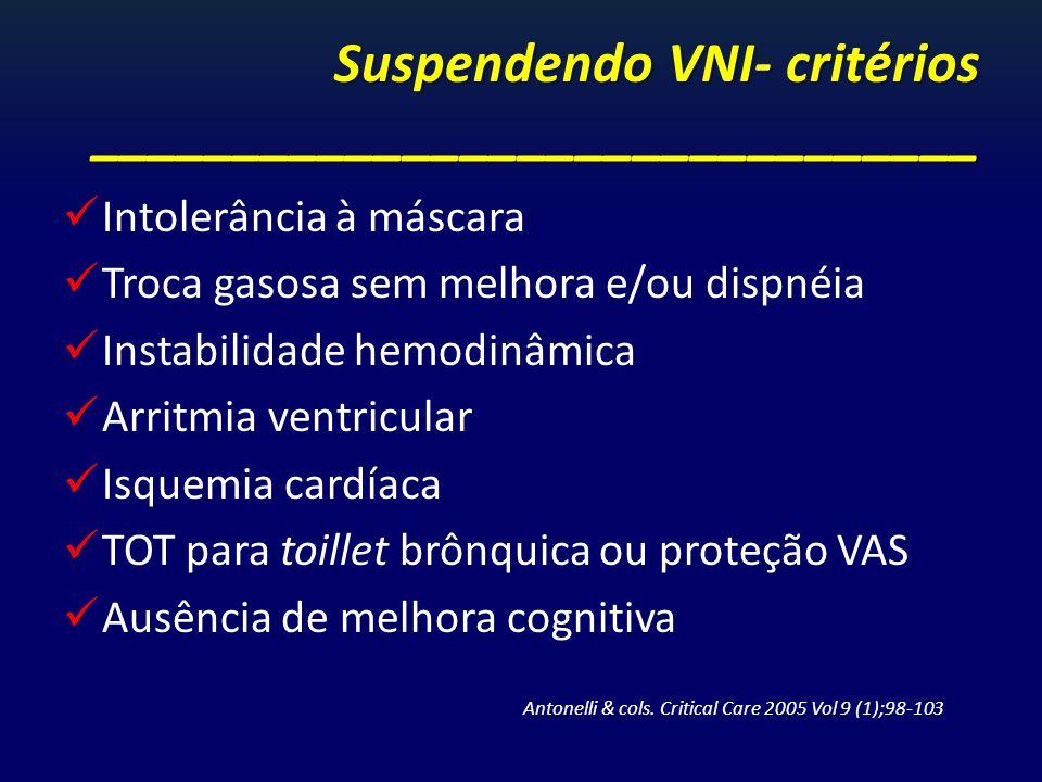Suspendendo VNI- critérios _______________________________ Intolerância à máscara Troca gasosa sem melhora e/ou dispnéia Instabilidade hemodinâmica Ar