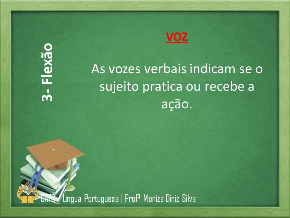VOZ As vozes verbais indicam se o sujeito pratica ou recebe a ação. CATS - Língua Portuguesa | Profª Monize Diniz Silva 3- Flexão