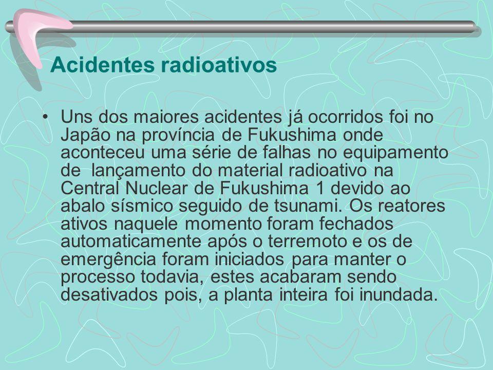 Acidentes radioativos Os profissionais de saúde, vendo os sintomas tratar-se de algum tipo de doença contagiosa.