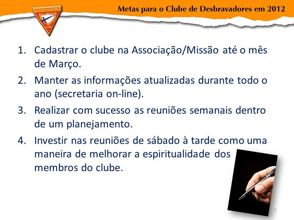 1.Cadastrar o clube na Associação/Missão até o mês de Março. 2.Manter as informações atualizadas durante todo o ano (secretaria on-line). 3.Realizar c