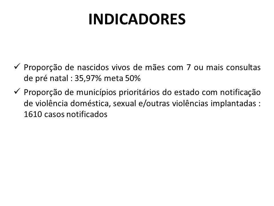 Proporção de nascidos vivos de mães com 7 ou mais consultas de pré natal : 35,97% meta 50% Proporção de municípios prioritários do estado com notificação de violência doméstica, sexual e/outras violências implantadas : 1610 casos notificados INDICADORES