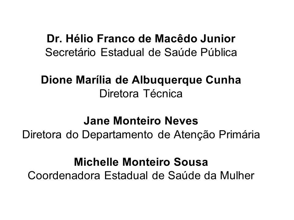 Dr. Hélio Franco de Macêdo Junior Secretário Estadual de Saúde Pública Dione Marília de Albuquerque Cunha Diretora Técnica Jane Monteiro Neves Diretor