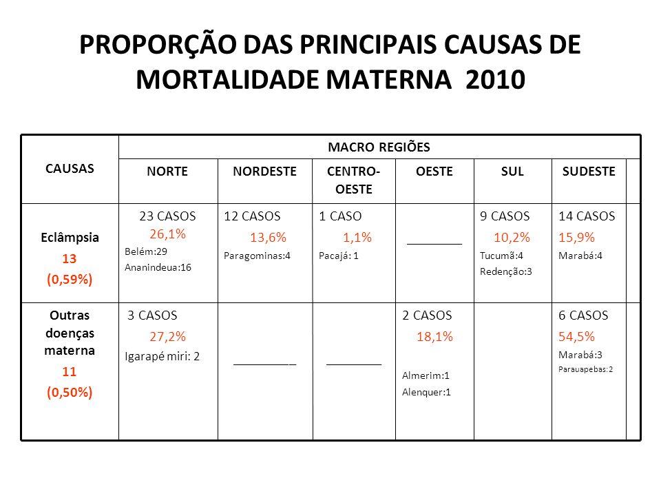 PROPORÇÃO DAS PRINCIPAIS CAUSAS DE MORTALIDADE MATERNA 2010 6 CASOS 54,5% Marabá:3 Parauapebas:2 2 CASOS 18,1% Almerim:1 Alenquer:1 _________________ 3 CASOS 27,2% Igarapé miri: 2 Outras doenças materna 11 (0,50%) ________ OESTE 12 CASOS 13,6% Paragominas:4 NORDESTE 23 CASOS 26,1% Belém:29 Ananindeua:16 NORTE MACRO REGIÕES 9 CASOS 10,2% Tucumã:4 Redenção:3 SUL 1 CASO 1,1% Pacajá: 1 CENTRO- OESTE 14 CASOS 15,9% Marabá:4 SUDESTE Eclâmpsia 13 (0,59%) CAUSAS