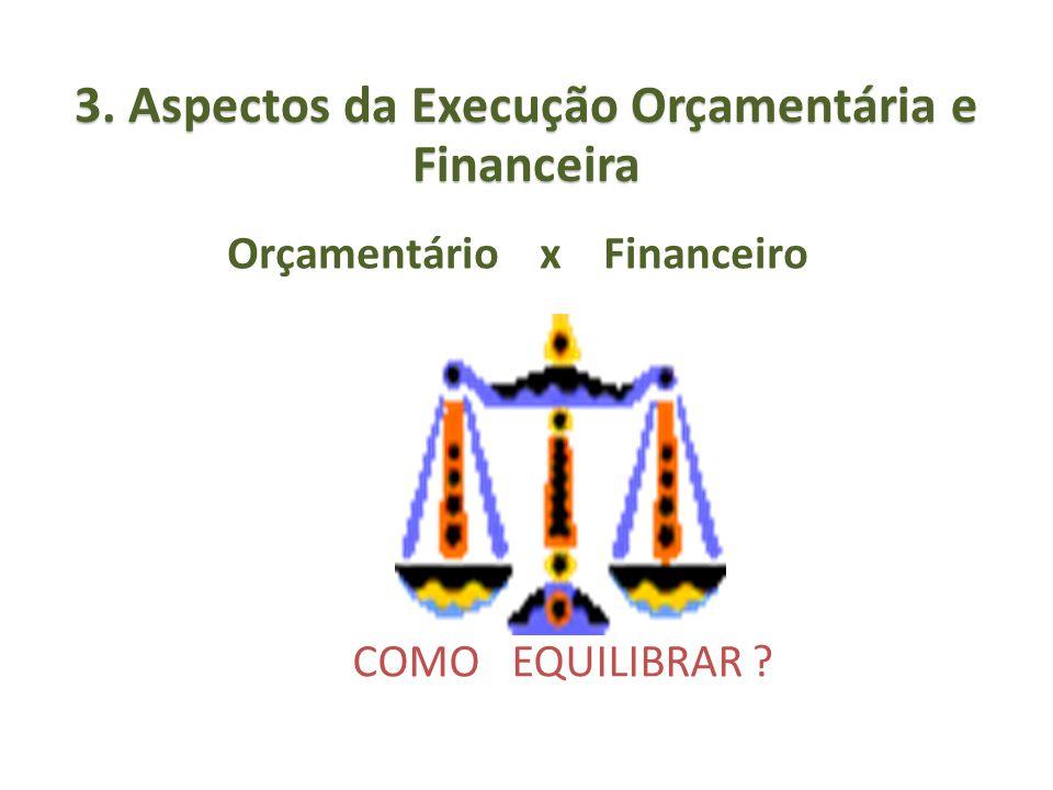 Orçamentário x Financeiro COMO EQUILIBRAR ? 3. Aspectos da Execução Orçamentária e Financeira