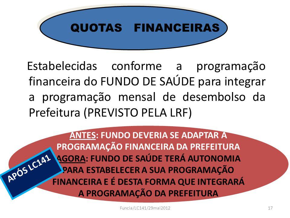 Estabelecidas conforme a programação financeira do FUNDO DE SAÚDE para integrar a programação mensal de desembolso da Prefeitura (PREVISTO PELA LRF) Q