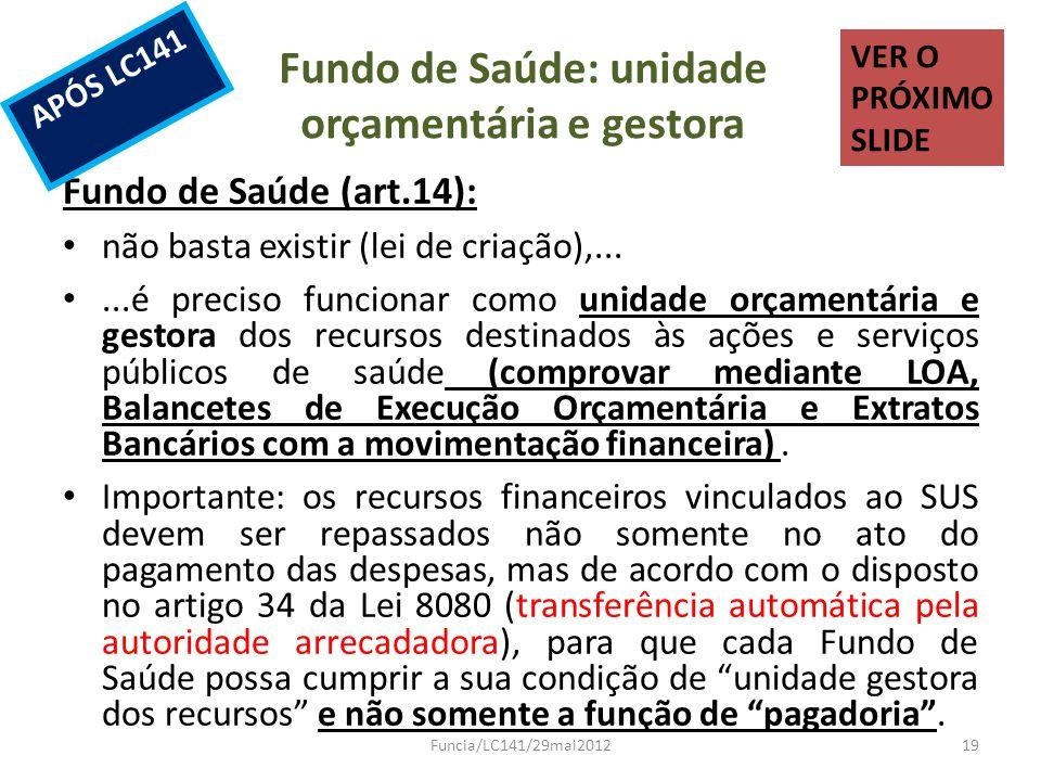 Fundo de Saúde: unidade orçamentária e gestora Fundo de Saúde (art.14): não basta existir (lei de criação),......é preciso funcionar como unidade orça