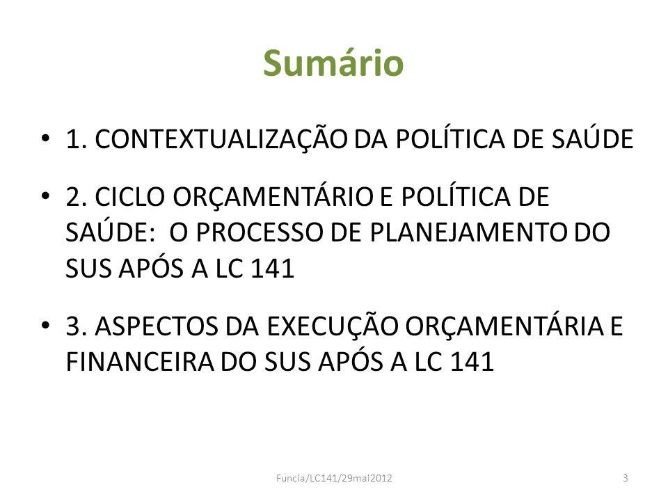 Sumário 1. CONTEXTUALIZAÇÃO DA POLÍTICA DE SAÚDE 2. CICLO ORÇAMENTÁRIO E POLÍTICA DE SAÚDE: O PROCESSO DE PLANEJAMENTO DO SUS APÓS A LC 141 3. ASPECTO