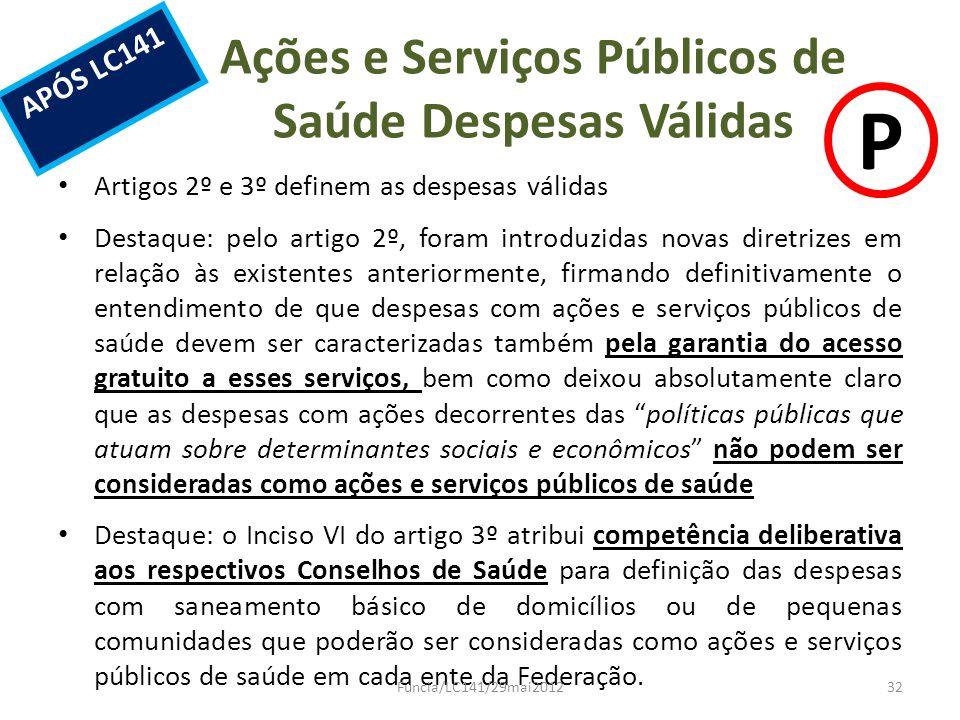 Ações e Serviços Públicos de Saúde Despesas Válidas Artigos 2º e 3º definem as despesas válidas Destaque: pelo artigo 2º, foram introduzidas novas dir