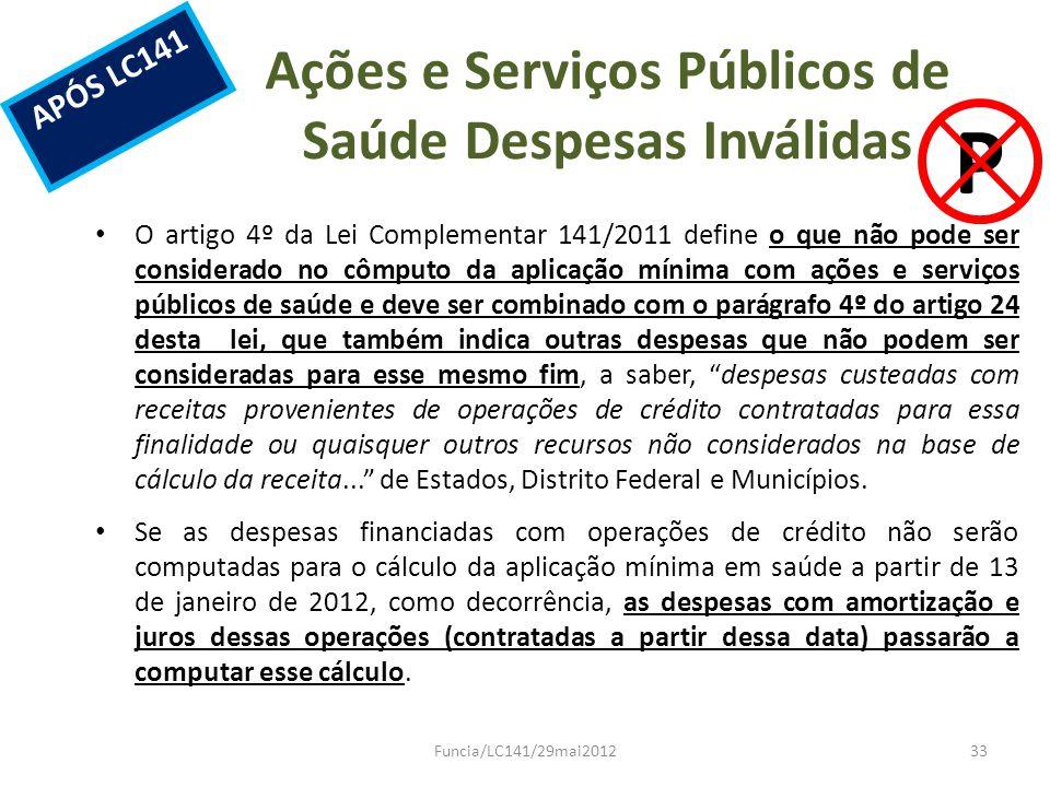 Ações e Serviços Públicos de Saúde Despesas Inválidas O artigo 4º da Lei Complementar 141/2011 define o que não pode ser considerado no cômputo da apl