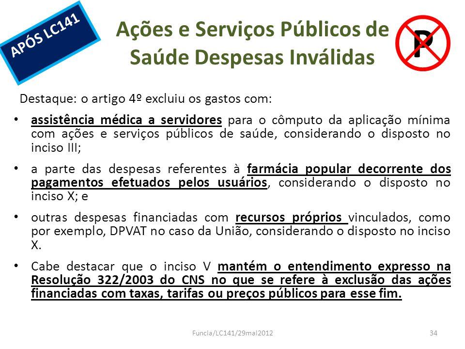 Ações e Serviços Públicos de Saúde Despesas Inválidas Destaque: o artigo 4º excluiu os gastos com: assistência médica a servidores para o cômputo da a