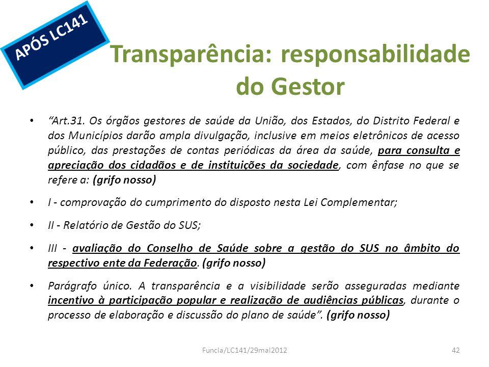 Transparência: responsabilidade do Gestor Art.31. Os órgãos gestores de saúde da União, dos Estados, do Distrito Federal e dos Municípios darão ampla