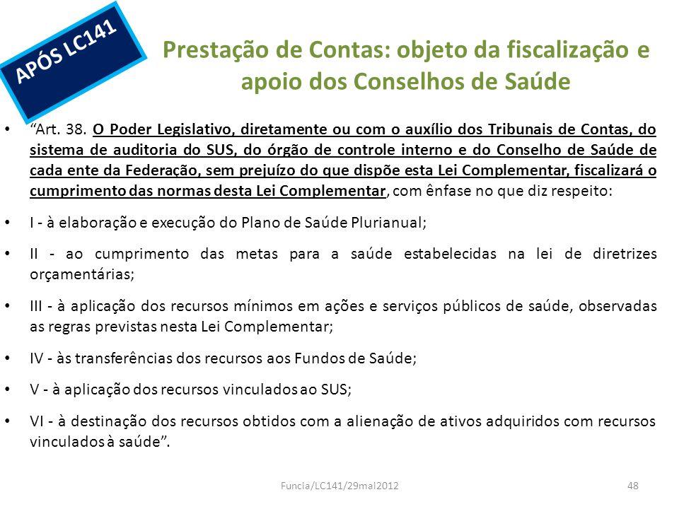 Prestação de Contas: objeto da fiscalização e apoio dos Conselhos de Saúde Art. 38. O Poder Legislativo, diretamente ou com o auxílio dos Tribunais de