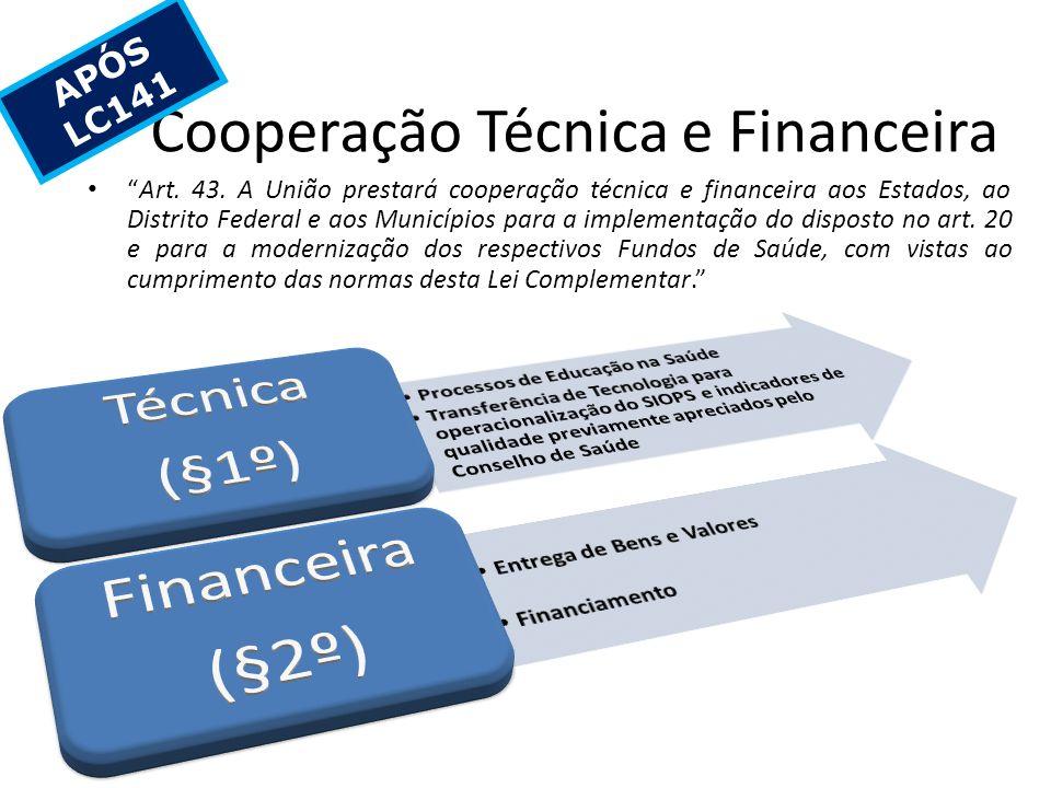 Cooperação Técnica e Financeira Art. 43. A União prestará cooperação técnica e financeira aos Estados, ao Distrito Federal e aos Municípios para a imp