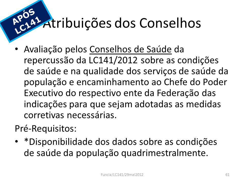 Atribuições dos Conselhos Avaliação pelos Conselhos de Saúde da repercussão da LC141/2012 sobre as condições de saúde e na qualidade dos serviços de s