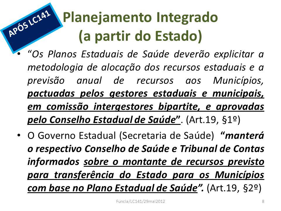 Planejamento Integrado (a partir do Estado) Os Planos Estaduais de Saúde deverão explicitar a metodologia de alocação dos recursos estaduais e a previ