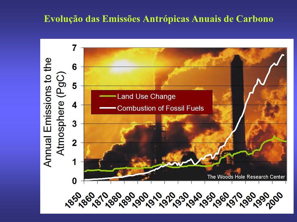 Evolução das Emissões Antrópicas Anuais de Carbono
