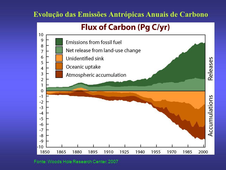 Fonte: Woods Hole Research Center, 2007 Evolução das Emissões Antrópicas Anuais de Carbono