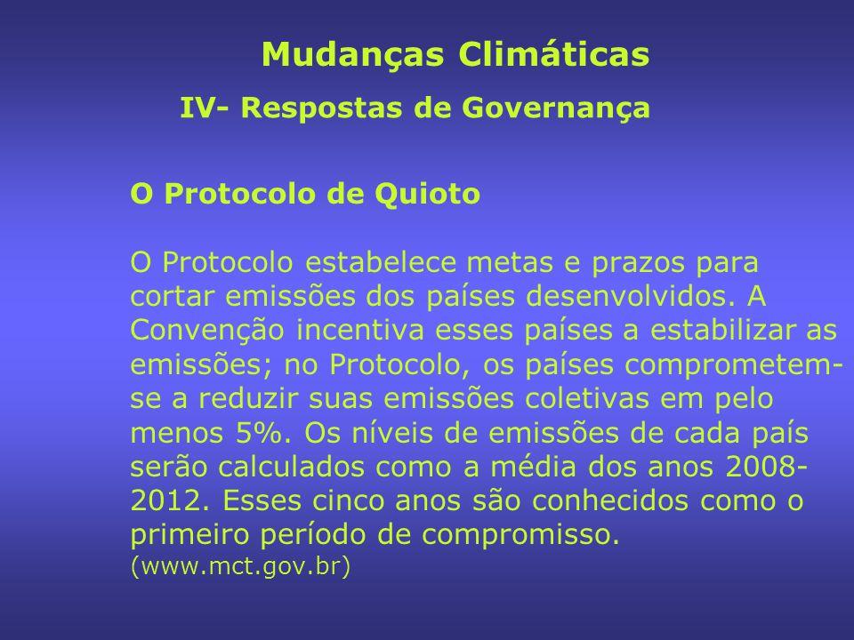 O Protocolo de Quioto O Protocolo estabelece metas e prazos para cortar emissões dos países desenvolvidos.