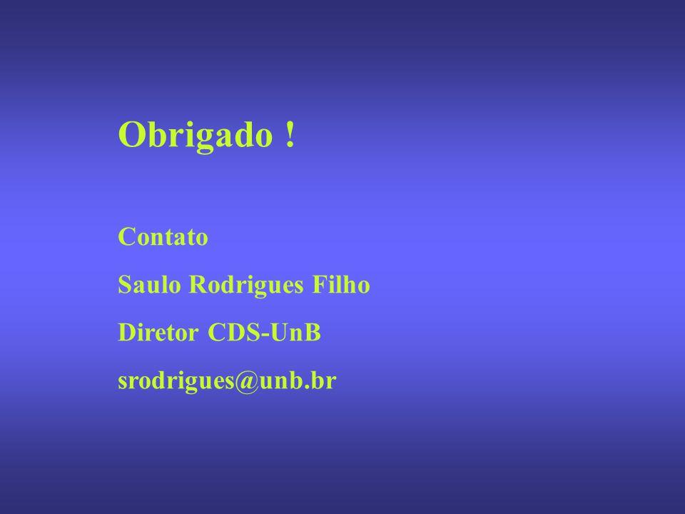 Obrigado ! Contato Saulo Rodrigues Filho Diretor CDS-UnB srodrigues@unb.br