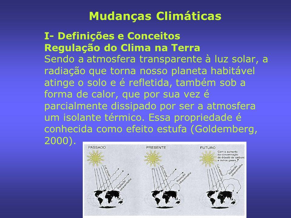 I- Definições e Conceitos Regulação do Clima na Terra Sendo a atmosfera transparente à luz solar, a radiação que torna nosso planeta habitável atinge o solo e é refletida, também sob a forma de calor, que por sua vez é parcialmente dissipado por ser a atmosfera um isolante térmico.