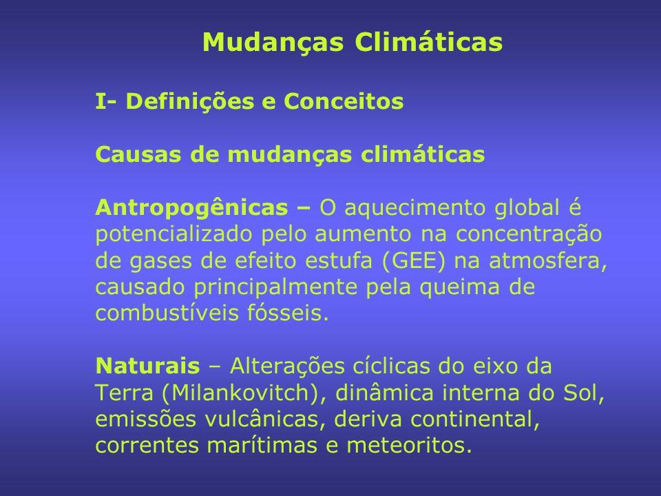 I- Definições e Conceitos Gases de Efeito Estufa (GEE) São considerados gases importantes no processo de aquecimento do planeta, segundo o Protocolo de Kyoto: Dióxido de Carbono (CO2); Metano (CH4); Óxido Nitroso (N2O); Ozônio (O3) e as famílias dos perfluorcarbono, em especial Hidrofluorcarbonos (HFCs); Perfluoretano (C6F6); Hexafluoreta de Enxofre (SF6).