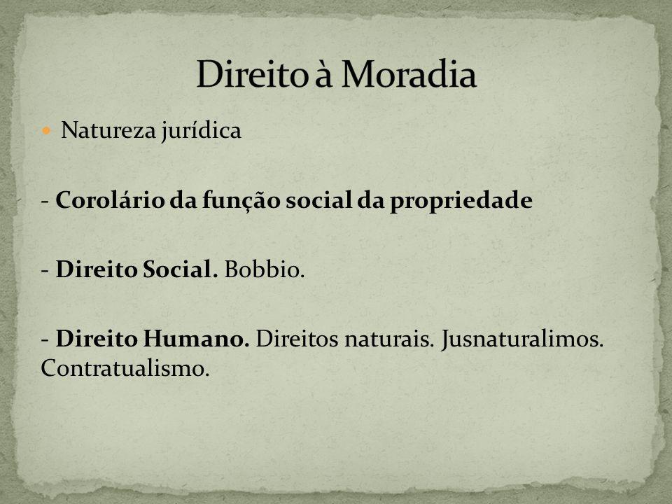 Natureza jurídica - Corolário da função social da propriedade - Direito Social. Bobbio. - Direito Humano. Direitos naturais. Jusnaturalimos. Contratua
